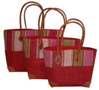 Red Hanta Raffia Stripe Shopping Baskets
